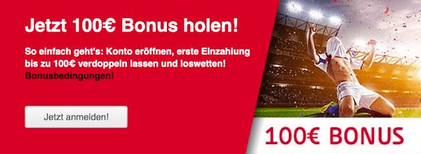 100 Euro Bonus von Tipico für die erste Einzahlung