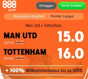 ManU vs Tottenham Quotenboost