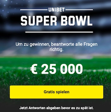 Unibet Super Bowl 25.000€Gewinnspiel
