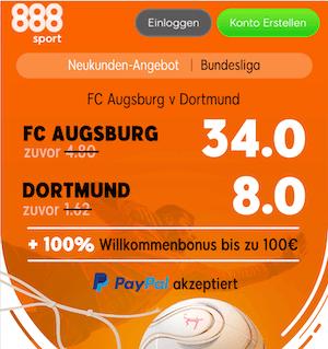Quotenboost bei 888sport zu FCA vs. BVB