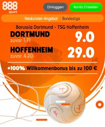 BVB vs Hoffenheim Quoten Boost bei 888sport