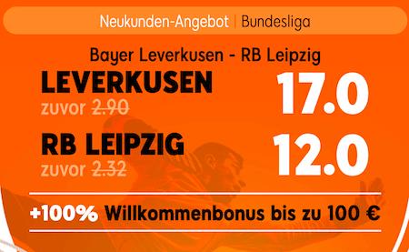 Quotenboost zu Leverkusen Leipzig am 26.9.2020