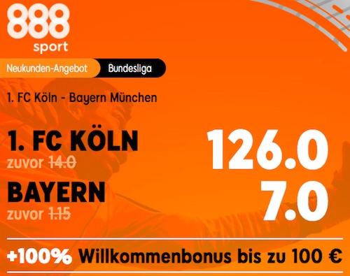 Köln vs Bayern Quoten Boost bei 888sport