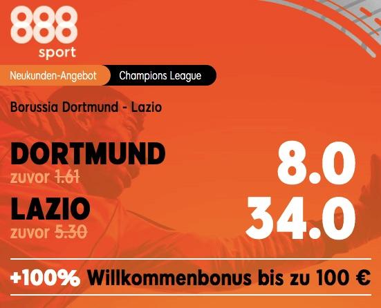 BVB gegen Lazio Rom Quoten Boost 888sport