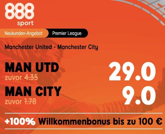Manchester Derby Quoten Boost bei 888sport