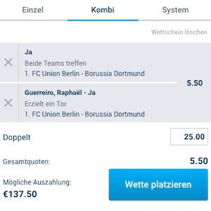 Mybet Wettschein Union Berlin vs BVB