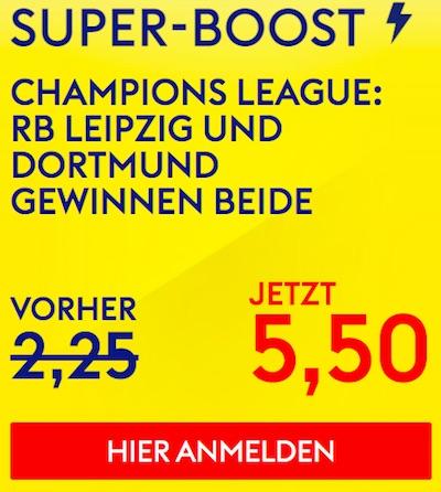 Skybet Boost zum BVB und RB CL Spiel