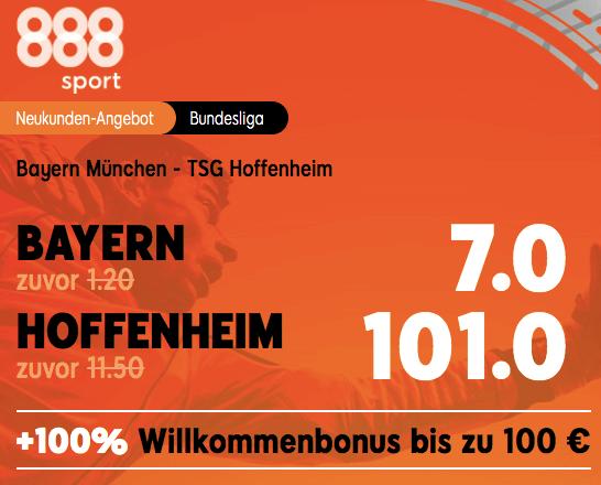 Bayern vs Hoffenheim Quoten Boost bei 888sport