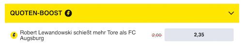 erhöhte Wettquoten zu Lewandowski mit Bayern gegen Augsburg
