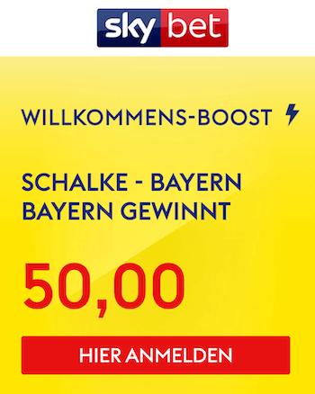 Superboost zu Schalke Bayern mit Quote 50,00 bei Skybet