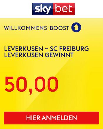 Skybet Quotenboost zu Leverkusen Freiburg 28.2.2021