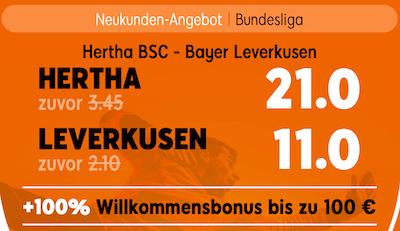 Hertha gegen Leverkusen mit erhöhten Quoten bei 888sport tippen