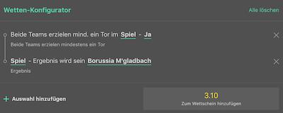 Bet365 Konfigurator Tipp zu Schalke gegen Gladbach