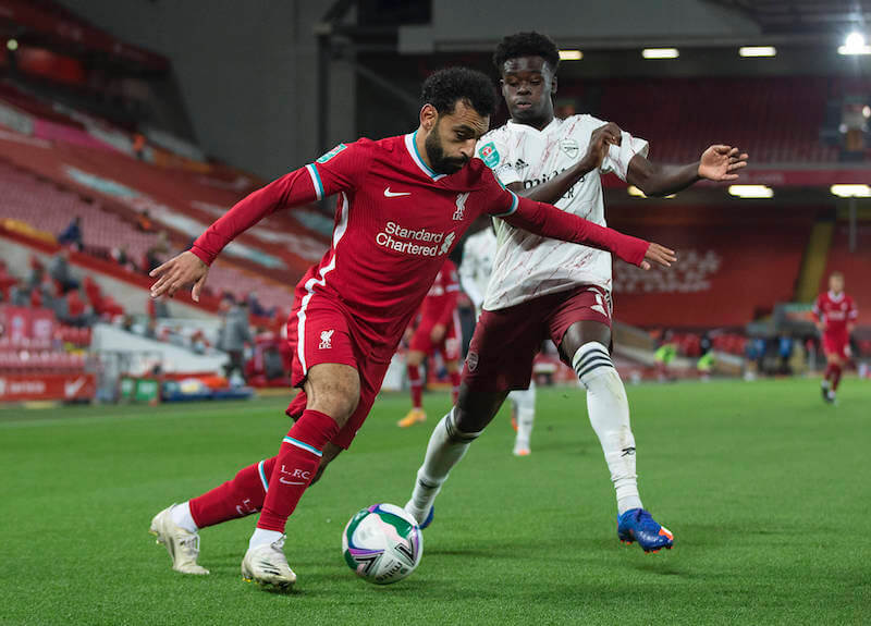 Liverpool Angreifer Salah will sich gegen Arsenal und Saka durchsetzen