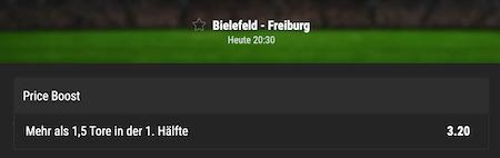 Bielefeld gegn Freiburg mit Bwin Priceboost tippen
