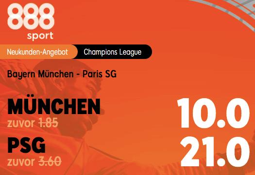 Bayern PSG Boost bei 888sport