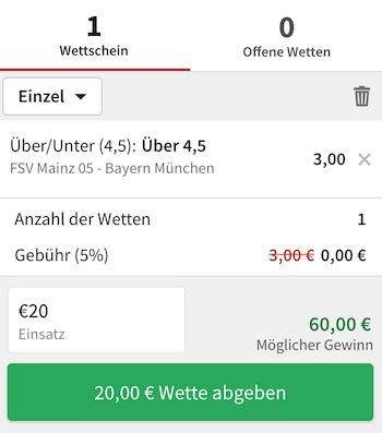 Over 4,5 Tore Tipp bei Mainz gegen Bayern