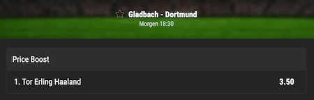 Haaland erzielt das 1. Tor gegen Gladbach Boost