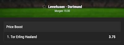 Bwin Quotenboost für Haaland erzielt das 1. Tor vs Leverkusen