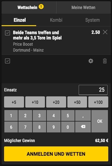 BVB Mainz Price Boost bei Bwin